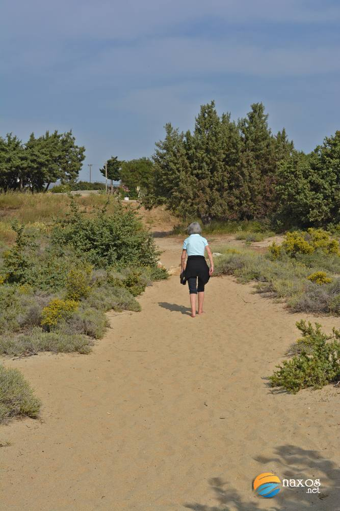 Walking on the sand dunes of Glyfada beach