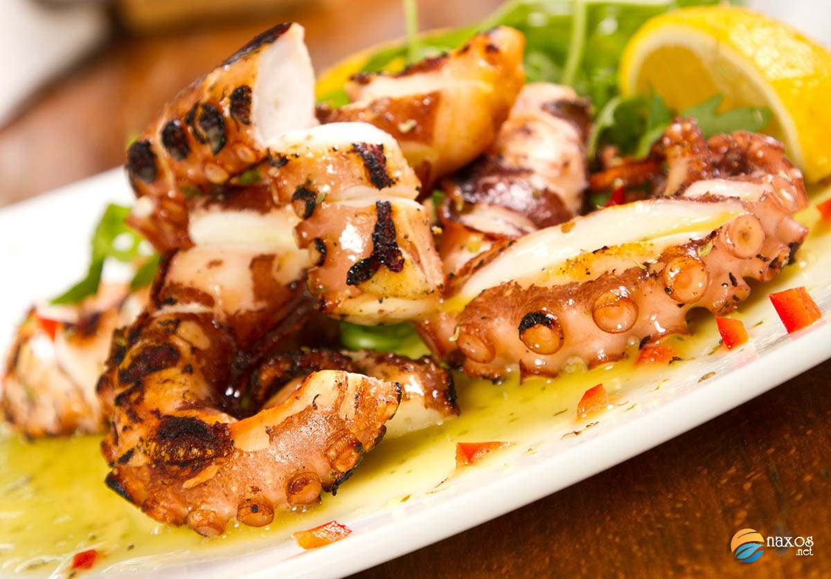Naxos, grilled octopus