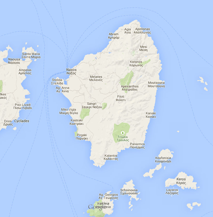 Interactive map of Naxos island