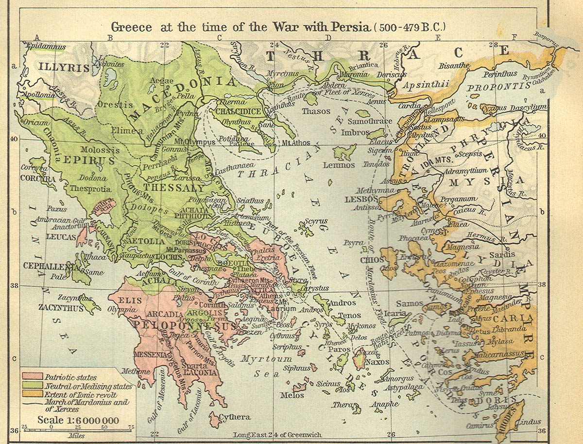 The routes of the Persian army during the Ionian Revolt
