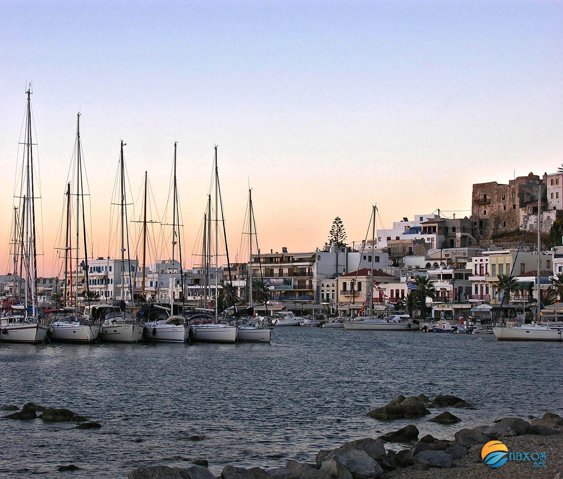 The capital of Naxos when the sun sets