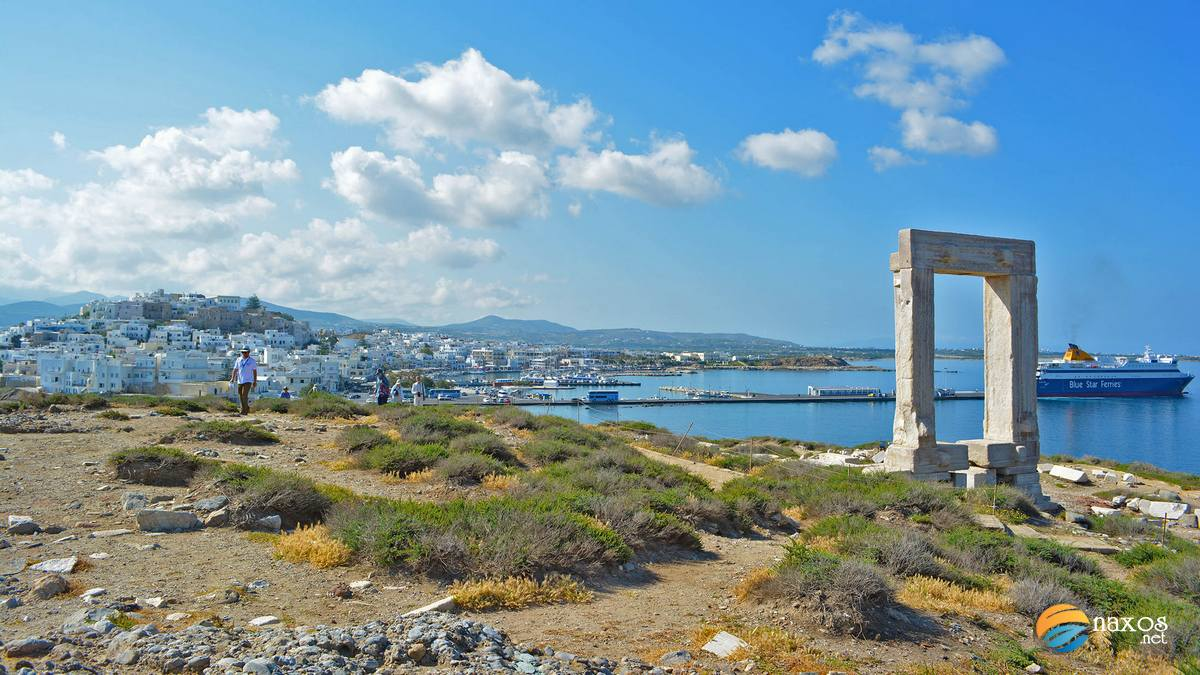 Portara of Naxos, the huge door at the entrance of the port