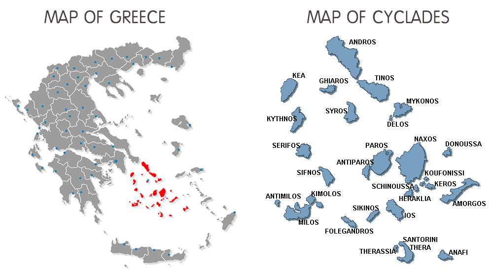 Map of Greece and Cyclades islands