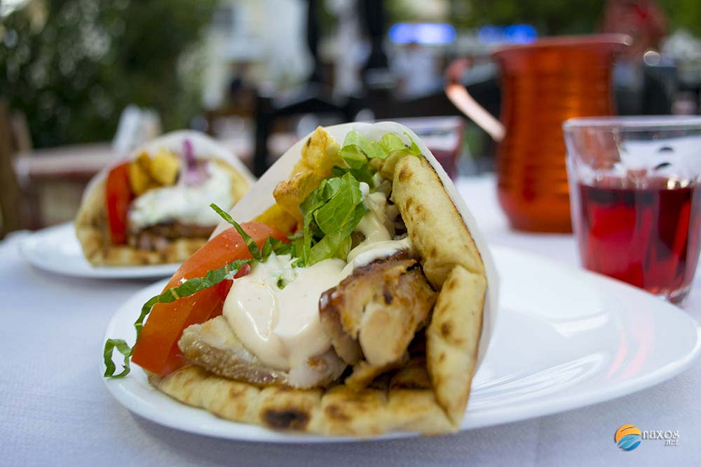 Taverns on Naxos offering souvlaki and meat